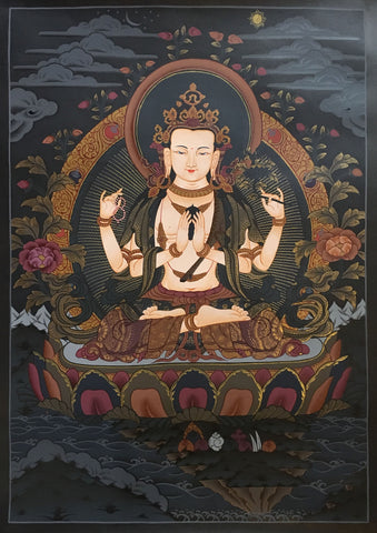 Chenrezig Black Canvas Thangka 55x40cm