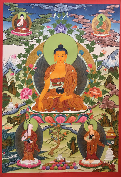 Shakyamuni Buddha In His Heavenly Adobe Thangka