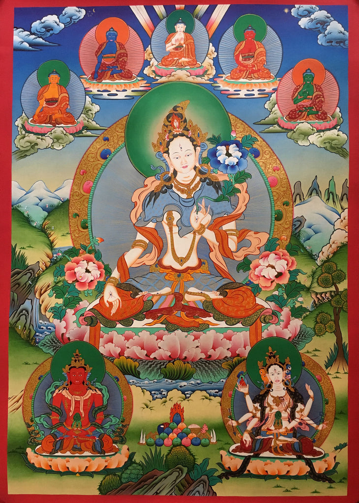 White Tara with Five Buddhas Thangka Painting