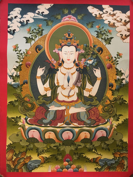 Avalokiteswora Buddhist Wall Hanging Thangka