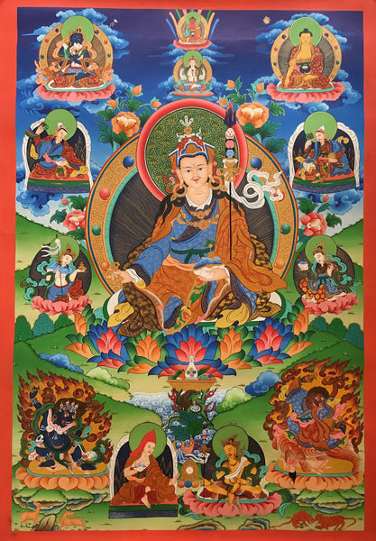 Exquisite Padmasambhava Thangka Painting