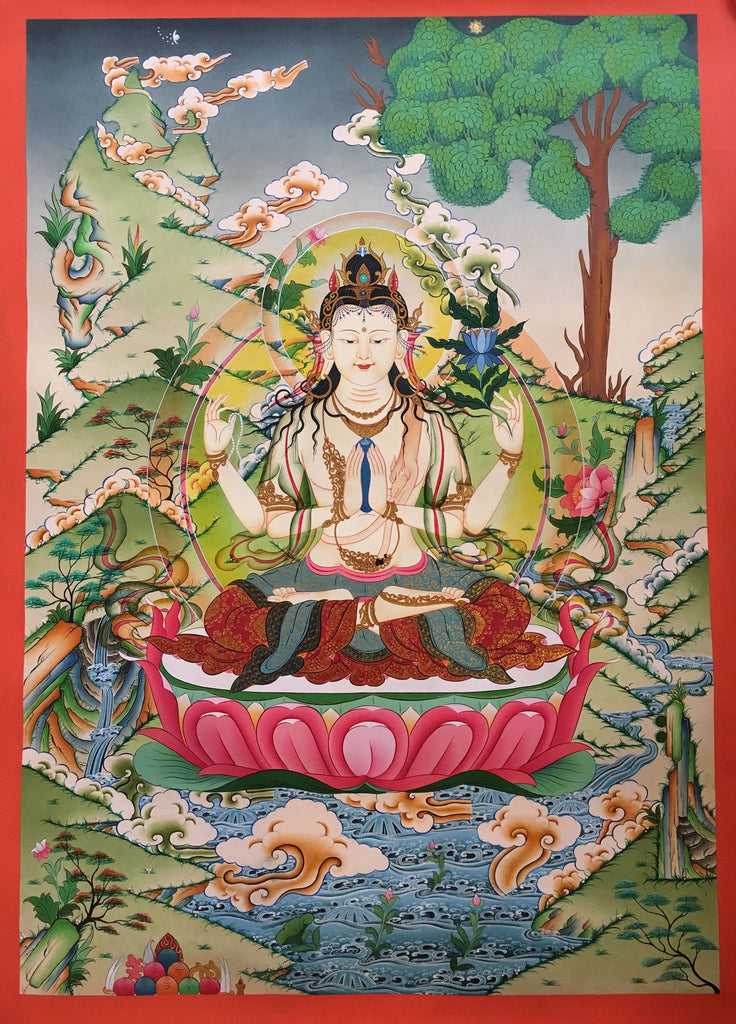 Traditional Chenrezig Thangka Painting 85X60cm