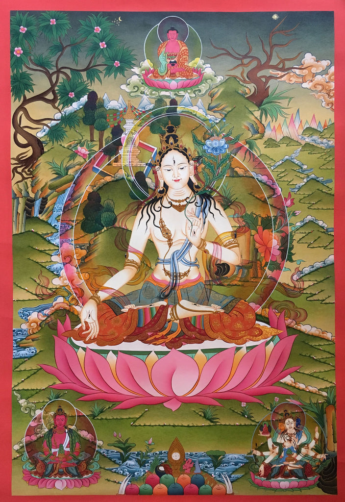Vibrantly Colorful thangka of White Tara