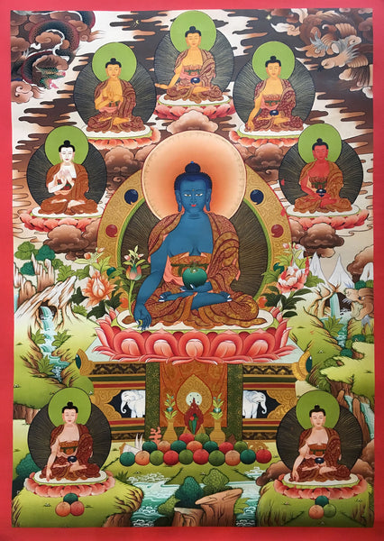 Majestic Thangka of Medicine Buddha with Pancha Buddha