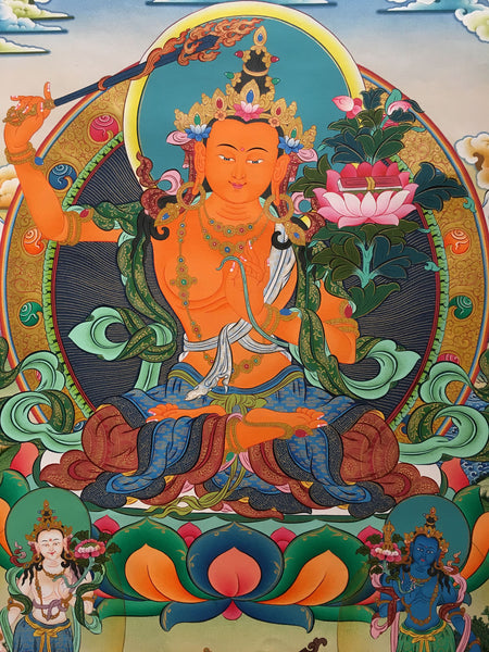 Exquisite Manjushri Thangka with Amitabha Buddha