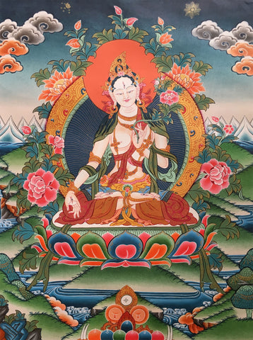 White Tara Thangka-Skillfully Painted Canvas
