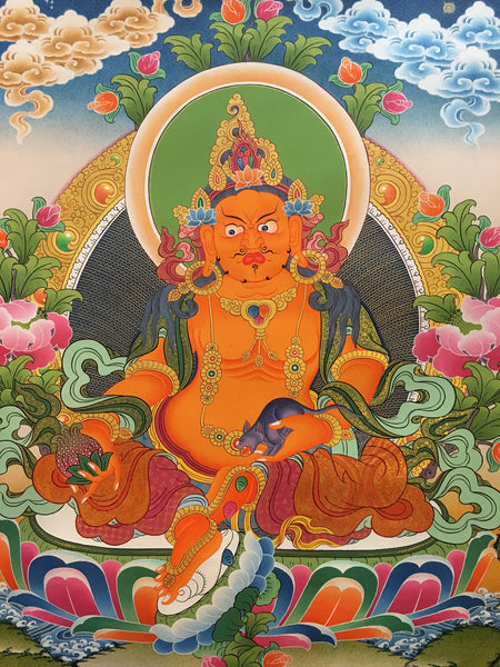Brightly Colorful Zambala Thangka