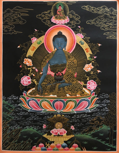Medicine Buddha Black Canvas Thangka