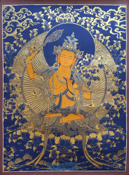 Golden Manjushri Thangka on  Dark Canvas