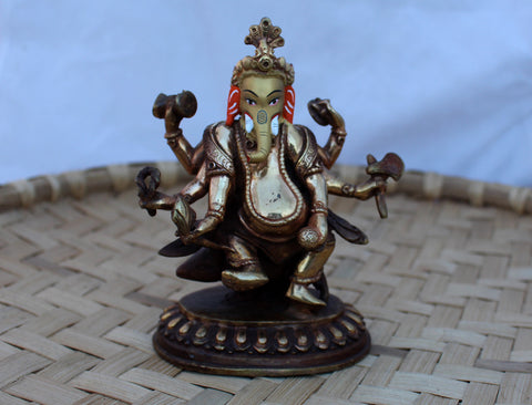 Gold Plated Dancing Ganesha Statue 5.5 Inch