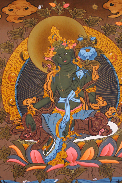 Silk Brocade Green Tara Thangka