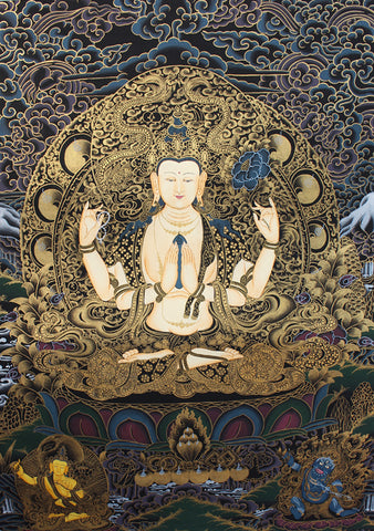 Black Chenrezig with Dragon Thangka Painting