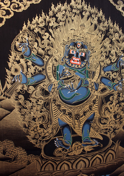 Black Mahankal Deity Gold Tonned Thangka Painting