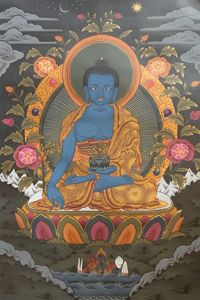 Healing Buddha Black Canvas Thangka Painting 55x40cm-NTH62