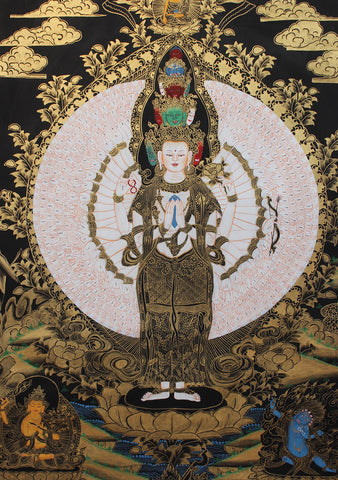 Black Gold Tonned Avalokeshvara Thangka Painting 29x21 CM