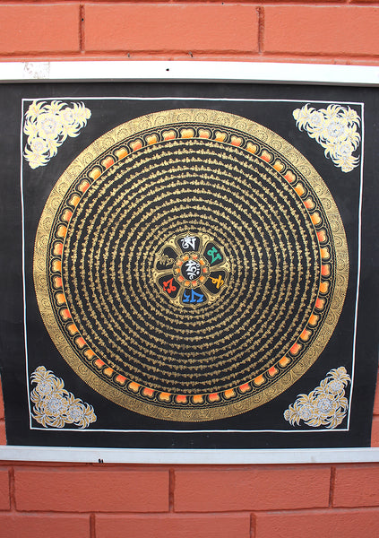 12 Line Mantra Mandala Painted Thangka
