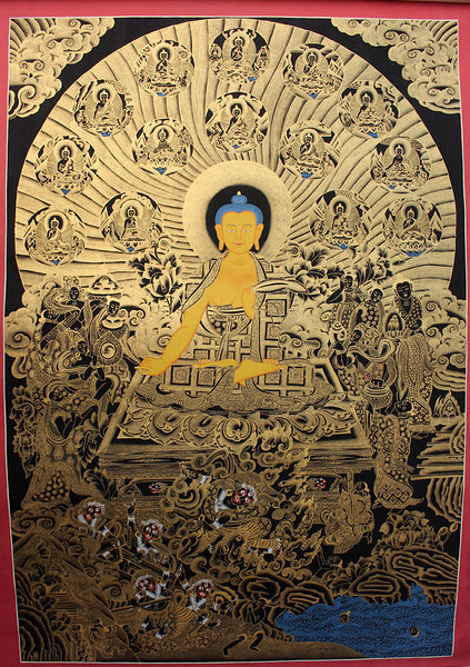 Black 14 Mini Buddha Shakaymuni Thangka Painting