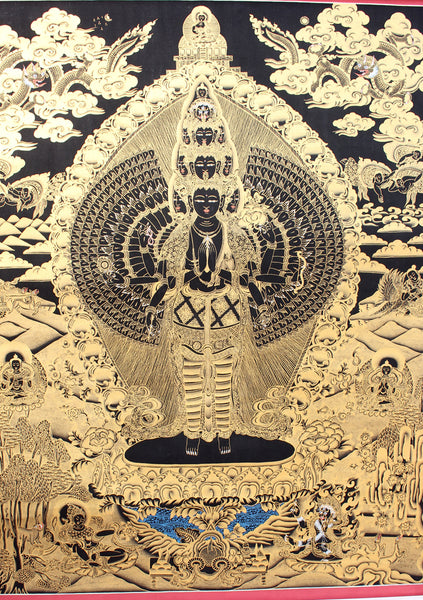 Tibetan Avalokiteshvara Gold Toned Thanka Paintings
