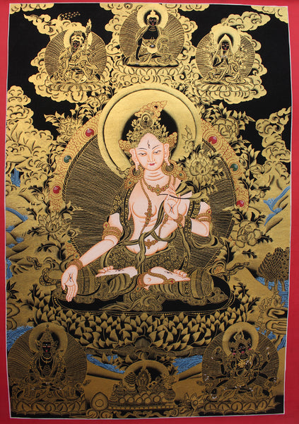 White Tara Thangka with Red Border 59x41 CM