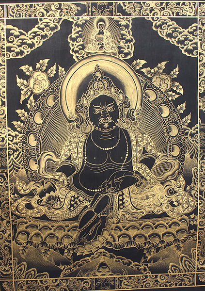 Black Jambala Single Deity Gold Tonned Thangka Painting