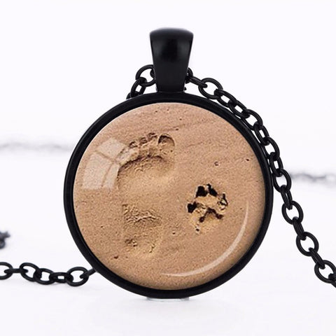Footprint Paw Print Pendant Necklace