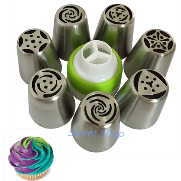 stainless steel pastry nozzles (7 pcs) + 1 Adaptor Converter