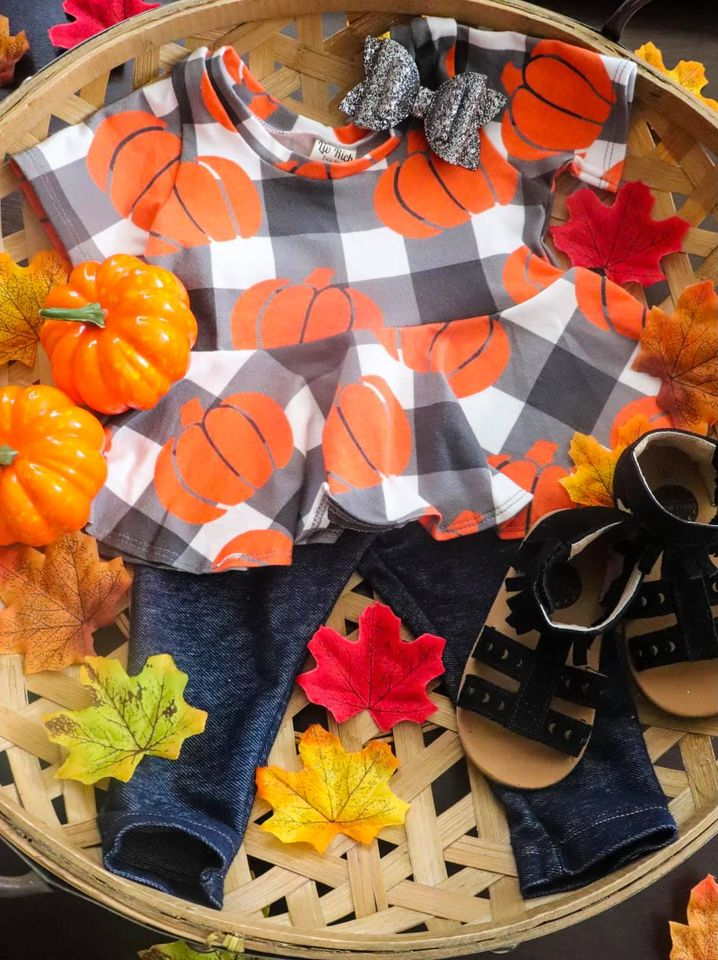 Buffalo Plaid Pumpkins Peplum