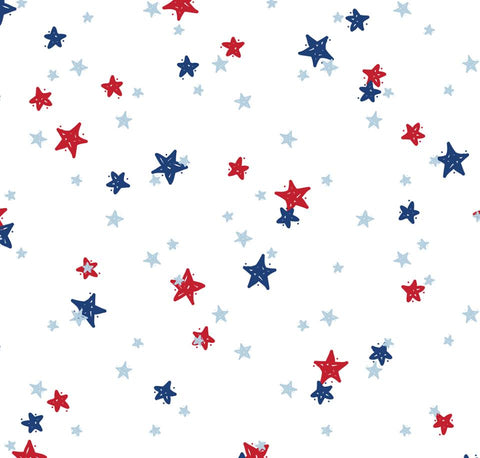 Red, White and Blue Stars Twirl Dress w/Lined Bodice