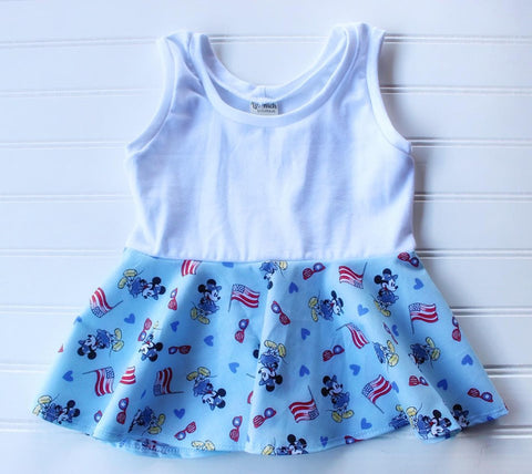 Mr Mouse Red, White & Blue Peplum