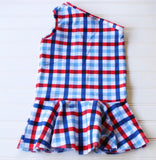 Red, White & Blue Gingham One Shoulder Top