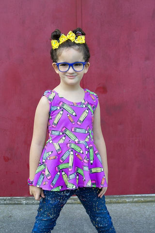 Purple Pencils Tank Peplum