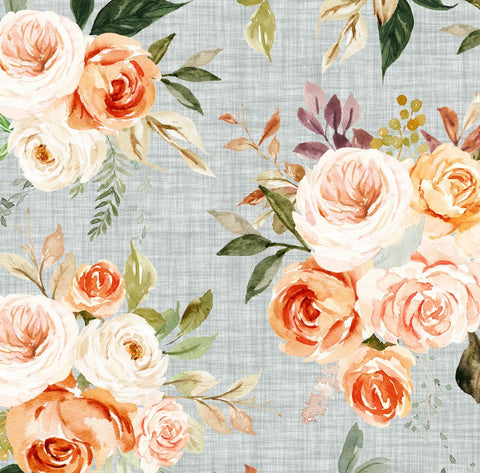 Peach Sherbet Floral on Linen Bloomies