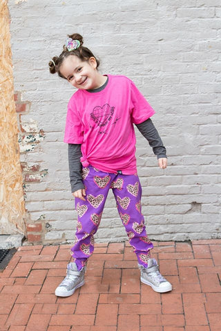 Leopard Hearts on Purple Unisex Cuffed Leggings