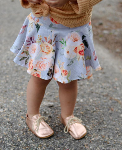 Peach Sherbet Floral on Linen High-Low Skirt