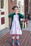 Rainbow Hearts Twirl Dress w/Lined Bodice