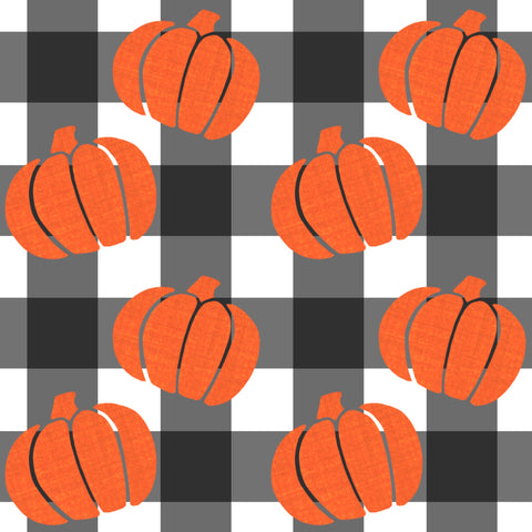 Buffalo Plaid Pumpkins Knee Length Twirl Dress