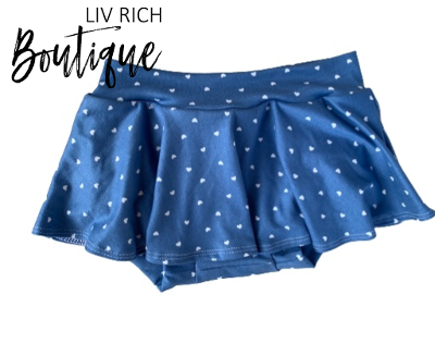 Chambray Blue with White Hearts Skirted Bloomies