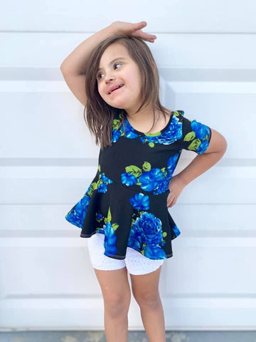 Black Liverpool w/Blue Floral Short Sleeve Peplum