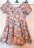 Peach Sherbet Floral on Linen Knee Length Twirl Dress