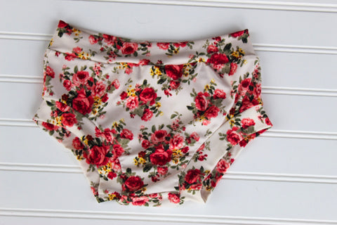 Cream Floral Bloomies - Ready to Ship