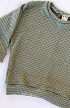 Load image into Gallery viewer, Olive Thick Waffle Slouchy Lounge Top - READY TO SHIP