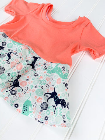 Coral Floral Pups Short Sleeve Peplum