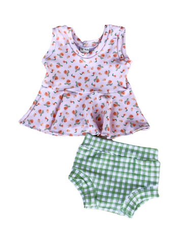 Peaches & Gingham Peplum & Unisex Bloomies SET