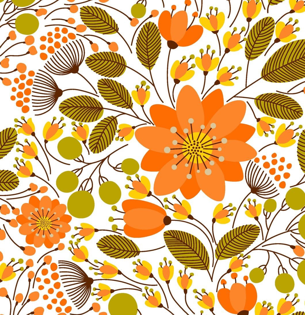 Fall Orange Floral Bloomies
