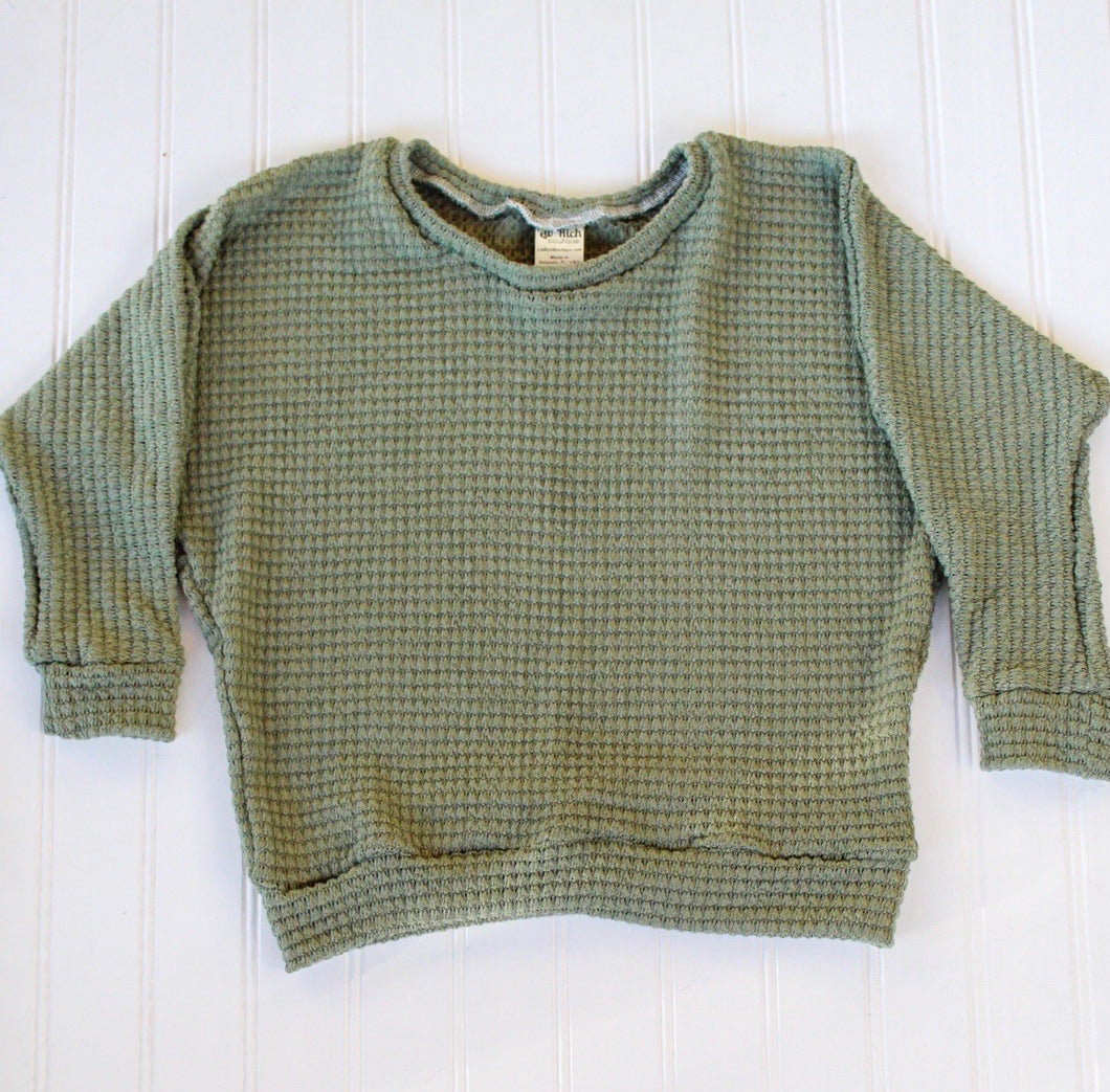 Olive Thick Waffle Slouchy Lounge Top - READY TO SHIP