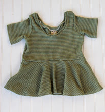 Load image into Gallery viewer, Olive Thick Waffle Short Sleeve Peplum - READY TO SHIP