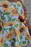 Sunflowers Short Sleeve Peplum