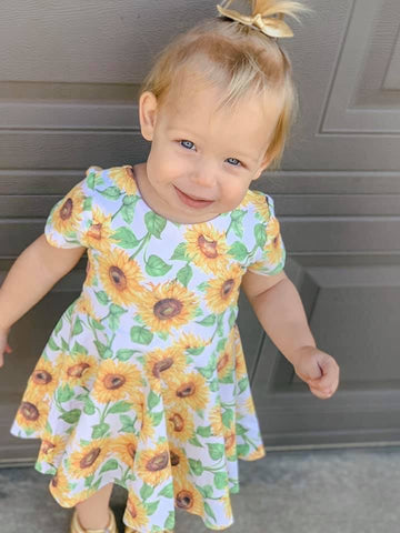Sunflower Short Sleeve Twirl Dress