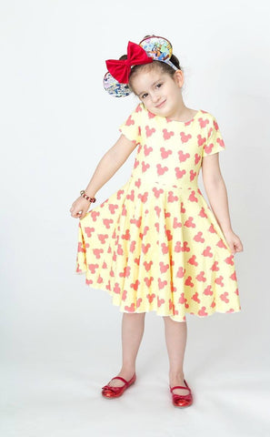 Coral on Yellow  Balloons Twirl Dress