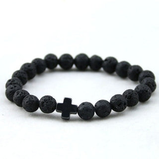 Black Stone Cross Bracelet (5 colors)-bracelet-Dapper Luks